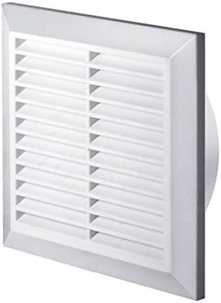 Rejilla de ventilación blanca de 200 x 200mm con mosquitera y conducto de cuello redondo de 150mm y rejilla de ventilación cubierta T27
