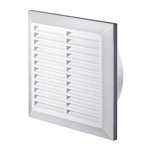 White Air Vent Grille 200mm x 200mm with Fly Screen and Round Ducting Collar 150mm / 6 Ventilation Cover Grid T27 Armar Trading LTD