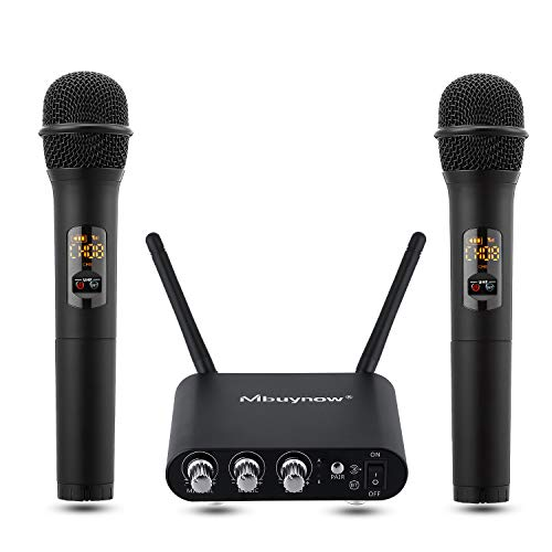 UHF Wireless Microphone System, Mbuynow Professional Microphone in Aluminum Alloy with Bluetooth Receiver Connectable to Smartphone, Intelligent Adjustment of Volume for DJ, Karaoke, Presentation