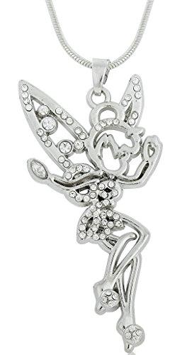 (Adorable Crystal Tinkerbell Angel Wing Ballet Dancing Girl Neckalce Romantic Gift for Teen Girls)