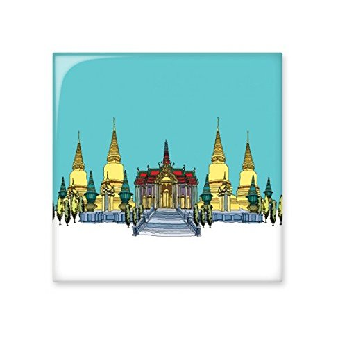 chic Kingdom of Thailand Thai Traditional Customs Culture Golden Temple Shrine Art Illustration Ceramic Bisque Tiles for Decorating Bathroom Decor Kitchen Ceramic Tiles Wall Tiles