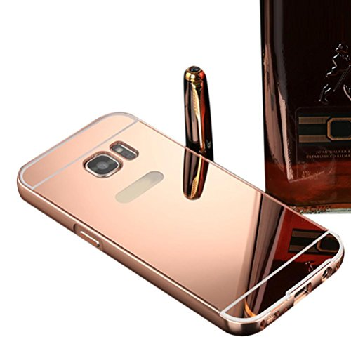 Price comparison product image Dreamyth For Samsung Galaxy S7 Edge , Mirror Back Cover & Frame Aluminum Metal (Rose gold)