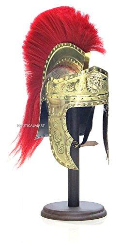 NAUTICALMART Roman Emperors Praetorian Guard Medieval Brass Helmet with Red ()