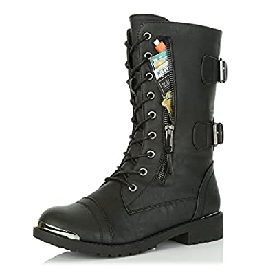 DailyShoes Women's Military Lace Up Buckle Combat Boots Mid Knee High Exclusive Credit Card Pocket Metal Front Bootie Shoes