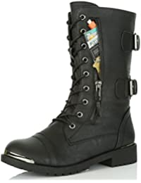 Women's Military Lace up Buckle Combat Boots Mid Knee High Exclusive Credit Card Pocket Metal Front Bootie Shoes