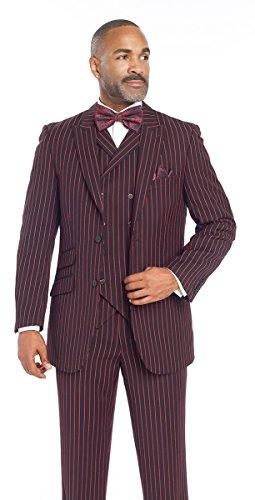 1940 Men's Black Red Pinstripe 3 Piece Suit M2700 EJ Samuel Stripe Mod (40 R) (10th Doctor Dress)