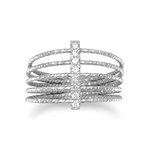 Price comparison product image Rhod. P. Sterling Silver Five Row Twist Wire Ring CZ Bar Eight 1mm Czs Bar 13mm Across Top - Size 7