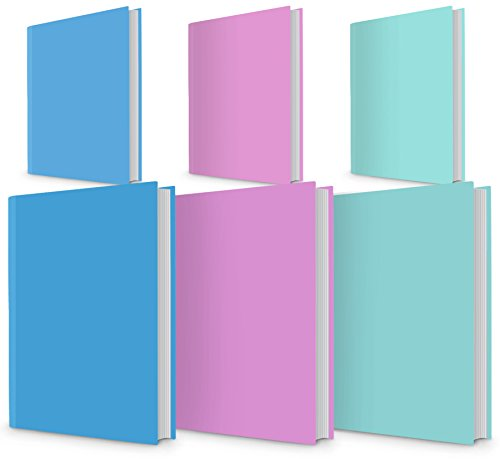 6 PACK Book Cover Sox Stretchable Durable Reusable Universal Size Fit for School or Textbook Hardback Books. Colour