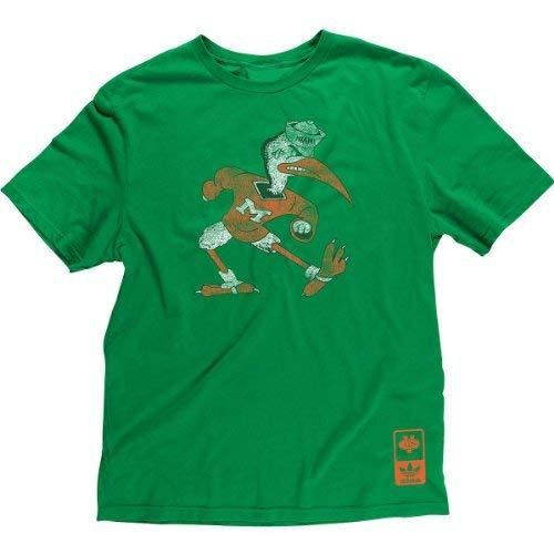 Miami Hurricanes Adidas Vintage Throwback Mascot Slim Fit T Shirt (Small)