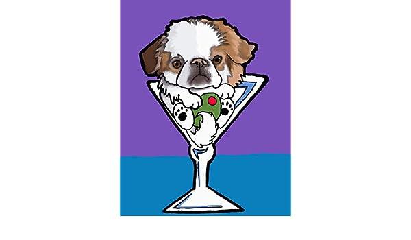 JAPANESE CHIN Martini Dog Pop Art PRINT Vern Painting