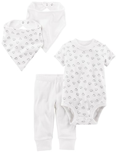 Simple Joys by Carter's Baby 4-Piece Neutral Bodysuit, Pant, Bib Cap Set, White Lamb, 3-6 Months