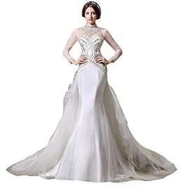 Dearta Women's Mermaid High Neck Court Train Wedding Dress UK 10 White