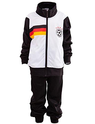 24brands Kinder Jungen Fußball Set Trainings Anzug Polyesteranzug Trikot Deutschland Brasilien sportanzug Ländertrikot TKF2941, Größe:152-158;Farbe:Deutschland