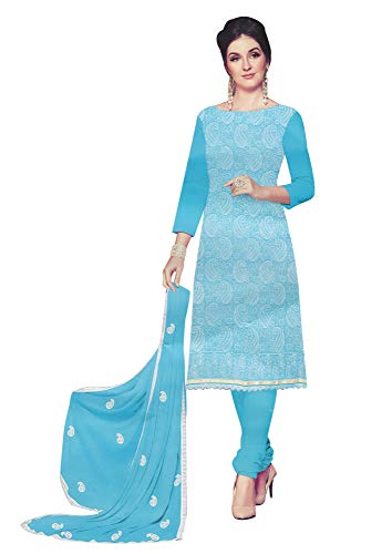 (Ladyline Cotton Lakhnavi Embroidery Salwar Kameez Womens Indian Dress Ready to Wear Salwar Suit Blue)