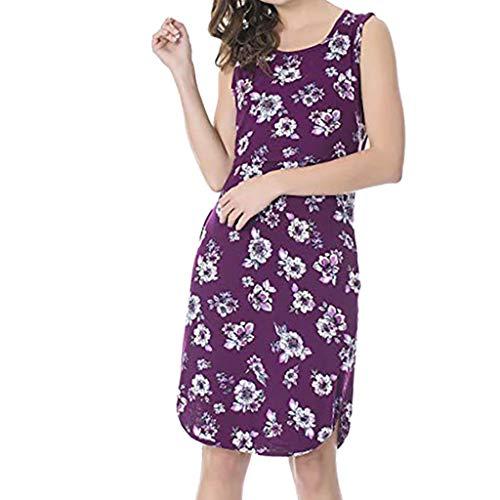 (Women's Sleeveless Maternity Dress Nursing Breastfeeding Dresses Round Neck Sleeveless Floral Ruffle Swing Dresses Purple)