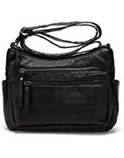 Crossbody Bags for Women, Multi Pocket Shoulder Bag Waterproof PU Washed Leather Travel Purses and Handbags