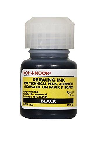 Koh-I-Noor Dye-Based Drawing Ink, 1 Ounce Bottle, Black (9065D.BLA)