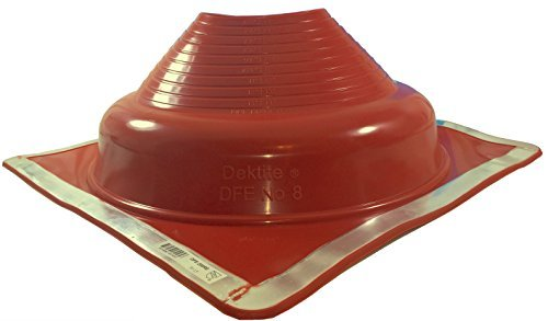14 Inch Premium Boots - Dektite Premium #8 Red Silicone Metal Roof Pipe Flashing, High Temp, Square Base, Pipe OD 6-3/4