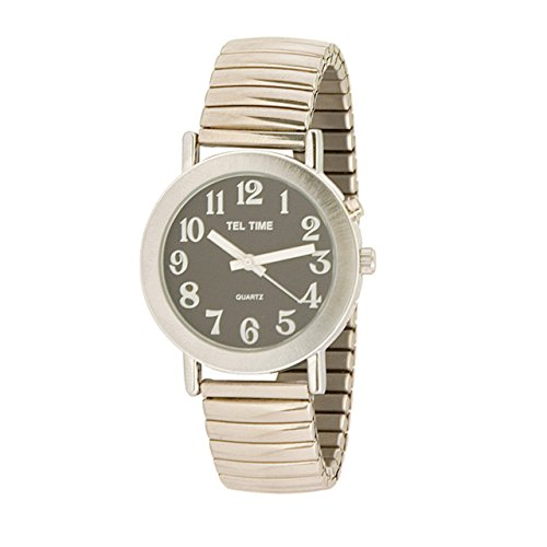 Tel-Time Mens Chrome Expansion One Button Talking Watch - Black Face by MaxiAids