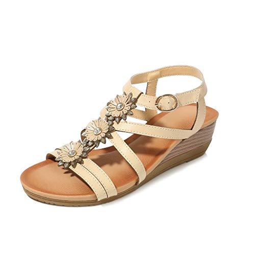 ♡QueenBB♡ Womens Wedge Sandals Summer Rhinestone Bohemian Beaded Ankle Strap Beach Wear Sandal Khaki