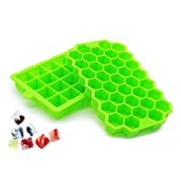 2 Pack Silicone Ice Cube Trays Molds, 61 Large Ice Cubes Square and Hexagon Ice Maker, Flexible Easy Release Stackable BPA-Free Dishwasher Safe Ice Mold for Whiskey Cocktail Beverages Chilled Drinks
