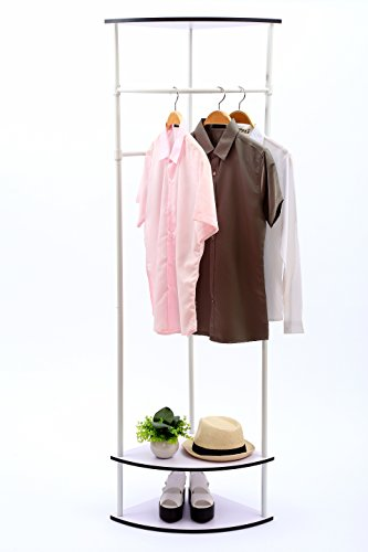 UPC 603803235398, MULSH Clothing Rack Multi-functional Corner Garment Rack Coat Rack with Hanger and 2-Tier Durable Shelf for Shoes Clothes Storage in White