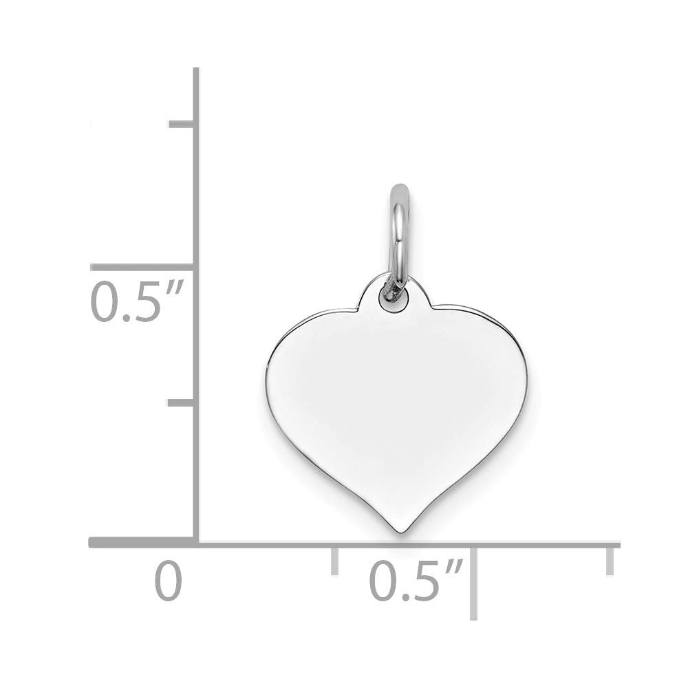 0.67 in x 0.47 in Jewel Tie 14K White Gold Heart Disc Charm