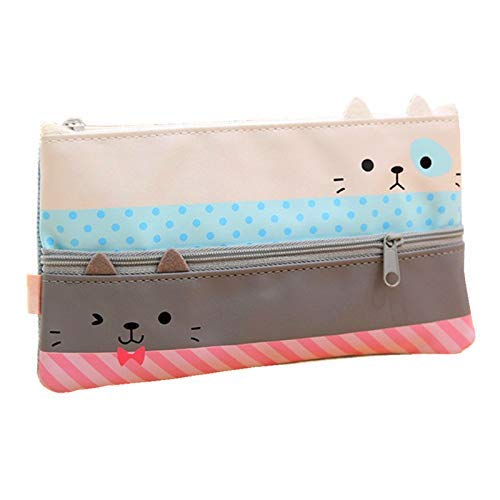 Funnylive Creative Learning Products,Cute Cat Pencil Case Stationery Pouch Bag Phone Pocket (Gray)