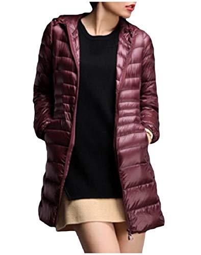 Leggero Mogogo Peso Plus Rosso size Vino Verso Outwear Con Delle Cappotto Ultra Il Donne Zip Cappuccio Basso Packable Full vvrqwxA8