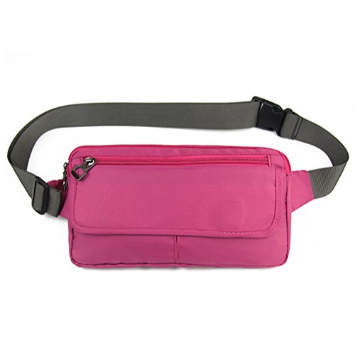 Cloud Cross Body - Ultraslim Nylon Waterproof Stealth Small Running Travel Waist Bag Packs Rose Red