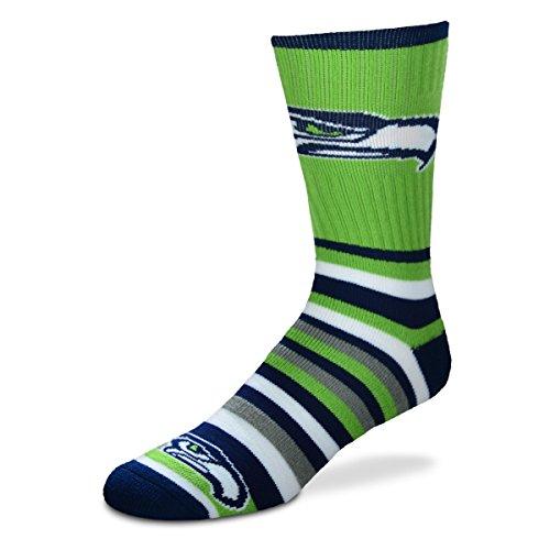 For Bare Feet Lotta-Stripe Men's Crew Socks Mens - Seattle Seahawks