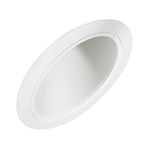 """Four-Bros 6"""" Inch Sloped Ceiling Recessed Trim - White Can Light Baffle Trim - Best Used with Four Bros Lighting Remodel & New Construction Housing - Sloped Ceilings - BR30 (Sloped Baffle Trim)"""