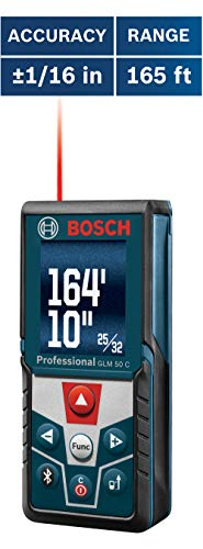 Bosch GLM 50 C Bluetooth Enabled Laser Distance Measure with Color Backlit Display (Device Digital Measuring Angle)