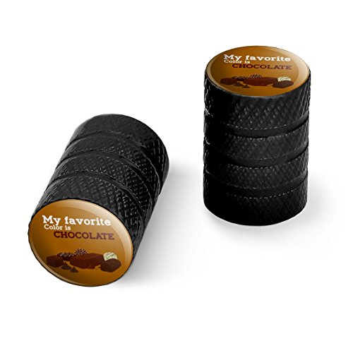 オートバイ自転車バイクタイヤリムホイールアルミバルブステムキャップ - ブラック私の好きな色はチョコレートです