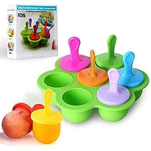Mini stampo in silicone per ghiaccioli, 7 scomparti fai da te, con bastoncini di plastica colorati, ghiaccioli per uova… 1 spesavip