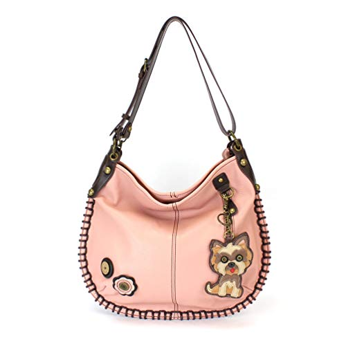 CHALA Charming Crossbody or Shoulder Convertible Large Tote Purse Vegan Leather- PINK (Yorkshire Terrier) ()