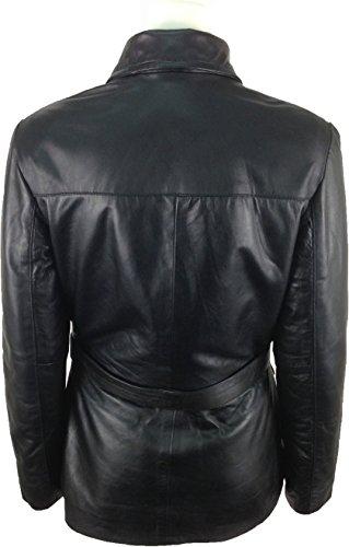 Femmes Cuir o2 En Manteau Unicorn Réel Noir De Veste Longue ARR4qd