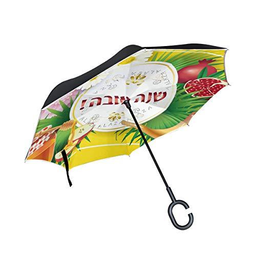 (Rosh Hashanah Honey Apple Shofar Pomegranate Inverted Umbrella, Large Double Layer Outdoor Rain Sun Car Travel Reversible Umbrella with C Handle for UV Protection Waterproof Windproof)