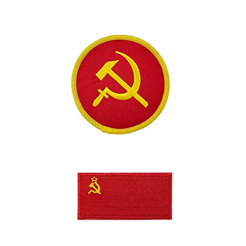 ([2 Pieces Set] Communist Hammer and Sickle Russia Soviet Union Flag Embroidered Iron on sew on Patch)