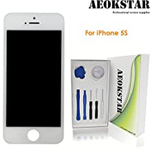 Aeokstar For iPhone 5S LCD Touch Screen Digitizer Glass Assembly Replacement With Frame & Full Repair Tools Kit (White)