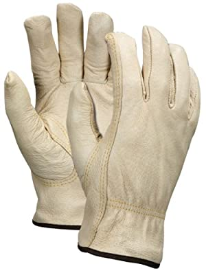 MCR Safety 3451S Industry Grade Pigskin Red Fleece Lined Insulated Driver Gloves with Keystone Thumb, Cream, Small, 1-Pair
