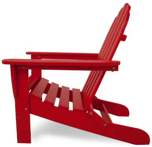 POLYWOOD AD5030SR Classic Folding Adirondack Chair, 38.5H x31.25W x 33.5 D, Sunset Red