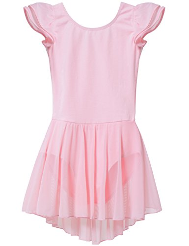 MdnMd Girls' Flutter Sleeve Skirted Leotard (Ballet Pink, 4-6 Years) -