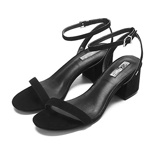 Chunk Heel Sandals Dress Block Women's - Peep Toe Ankle Strappy Sandals - Comfortable Ladies Pumps Shoes (6-6.5 M US, Black(sue))
