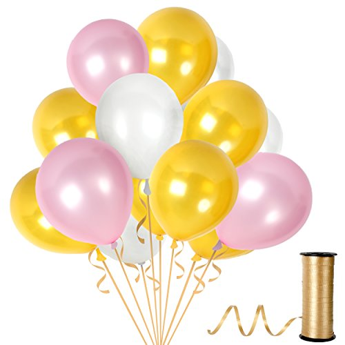 "12"" Latex Gold Balloons Pink Balloons White Balloons Pack of 100 Pieces, Thick Latex 12 Inches Balloon Pink White Gold Top Quality Decorations For Gold and Pink Birthdays Baby Show - White Baby Dress Spice"