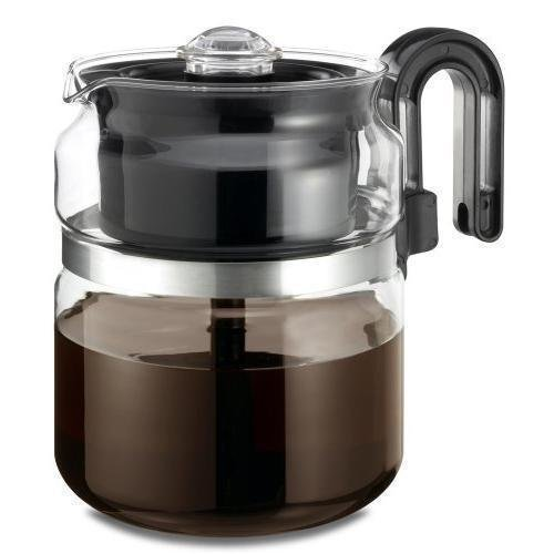 (Coffee Maker Pot Medelco 8 Cup Glass Stovetop Stove Top Tea Machine)
