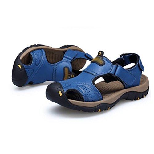 Hommes Casual Été Extérieur NIUMJ Antidérapant Cuir en Kaki Chaussures Conduire Respirant Plage Mode d6Hxnf