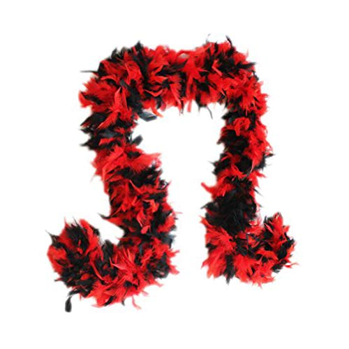 (SACAS Fashion 100g Feather Chandelle Boa 6 feet long in Red & Black)