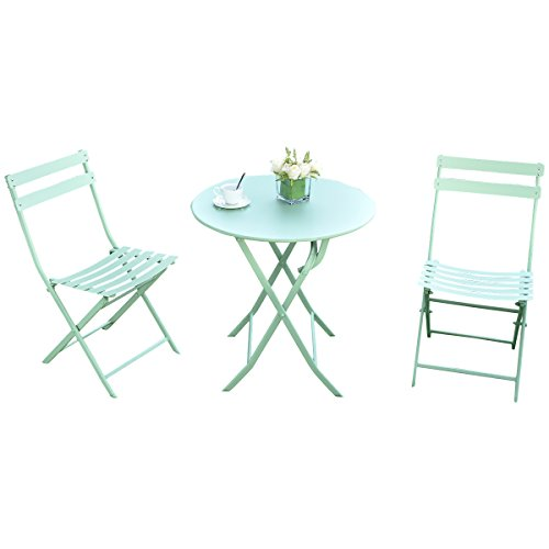 Giantex 3 PC Folding Bistro-Style Patio Table and Chair Set Outdoor Patio Garden Pool Backyard Furniture(Green) (Dining Folding Furniture Set Patio)