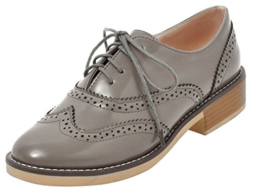 Mofri Women's Trendy Lace up Oxfords - Round Toe Low Top Solid Color - Stacked Block Low Heel Brogues Shoes (Gray, 7.5 B(M) US) (Round Pumps Toe Heel Stack)